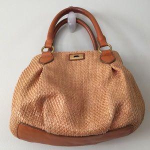 J Crew Leather and Straw Handbag Satchel Medium